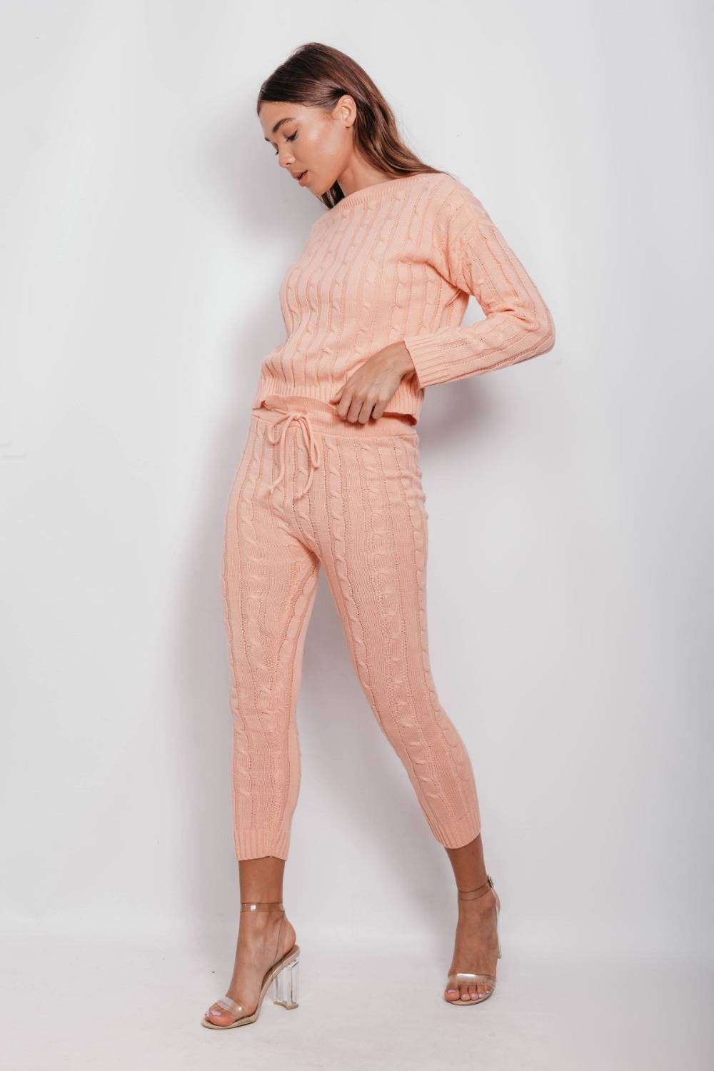 Coral Cable Knit Long Sleeve Cropped Top And Legging Lounge Set J5 Fashion