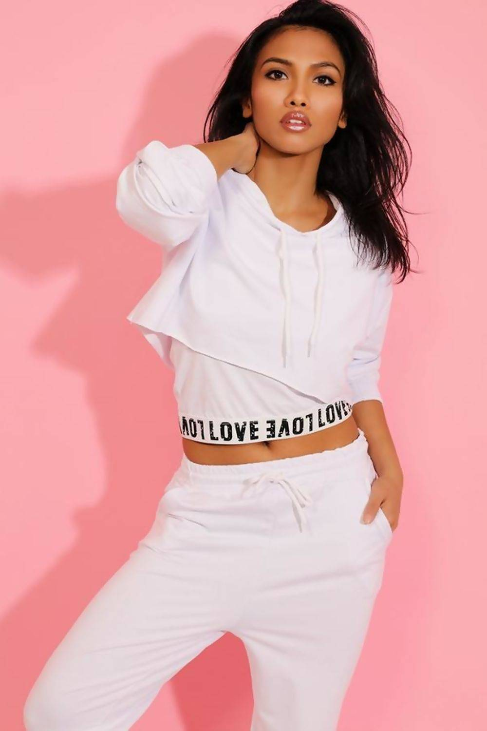White Love Top Crop Hoodie And Jogger 3 Piece Set J5 Fashion