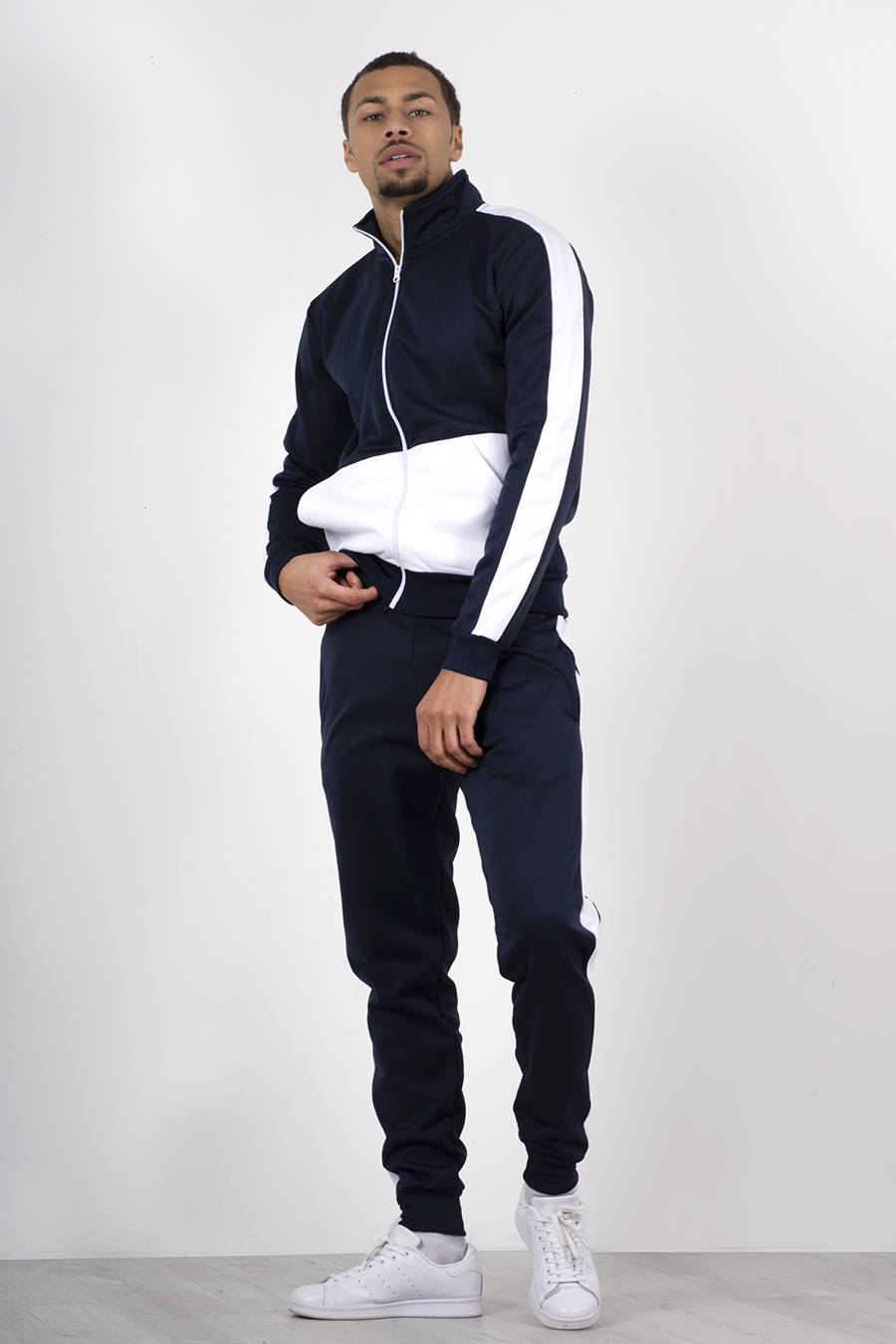 Navy Two Tone Zip Through Funnel Tracksuit J5 Fashion