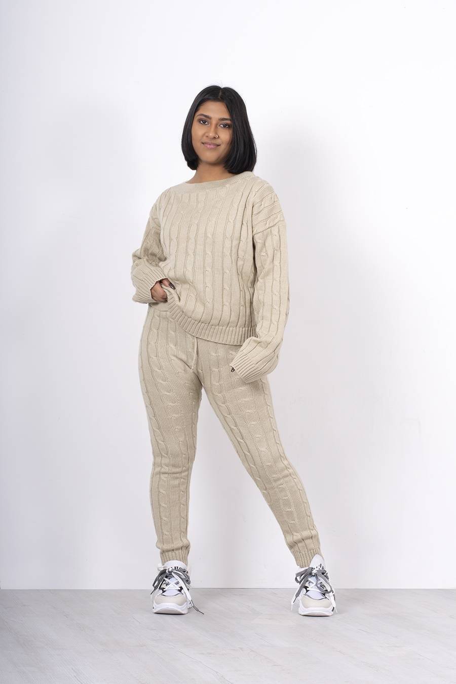 Beige Cable Knit Long Sleeve Cropped Top And Legging Lounge Set J5 Fashion