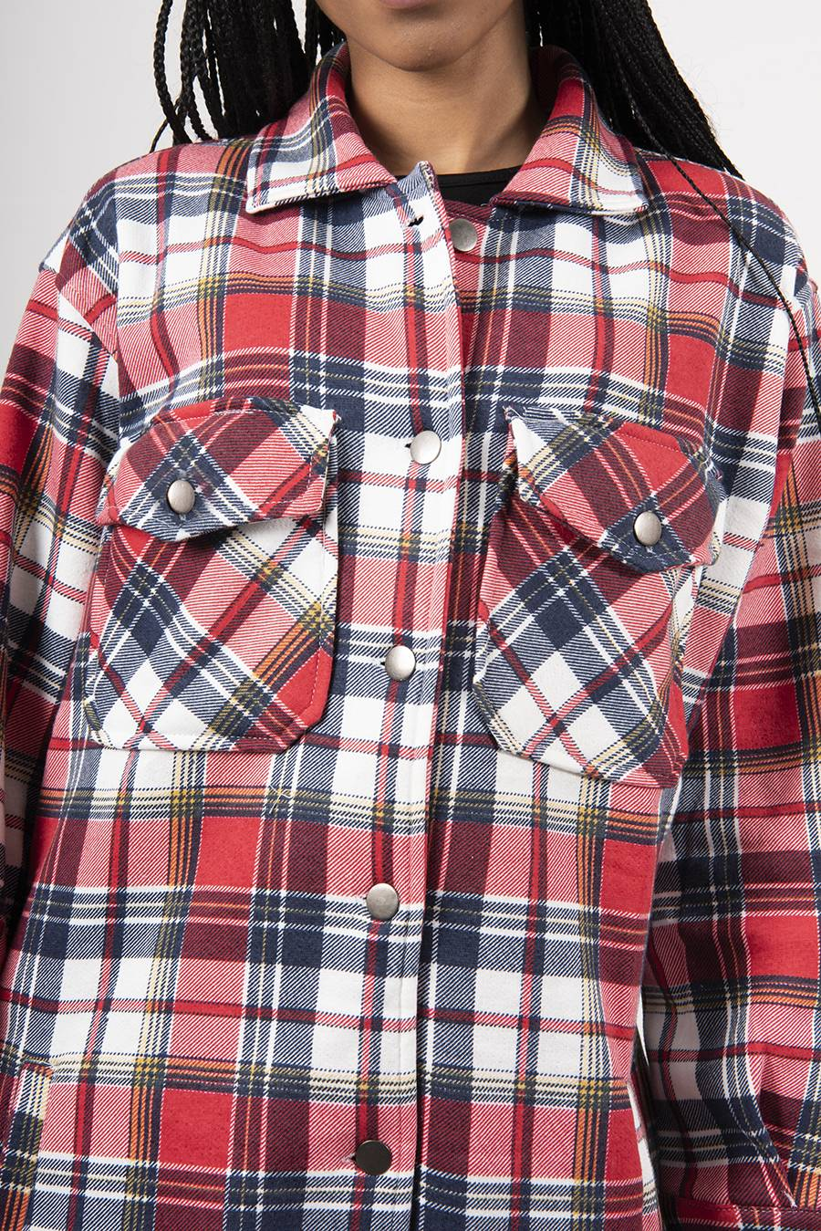 Red With Multi Check Longline Shacket J5 Fashion