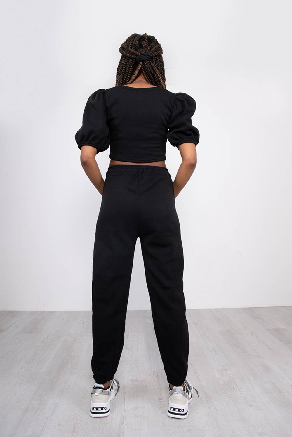 Black Puff Sleeve Cropped Top And Jogger Lounge Set J5 Fashion