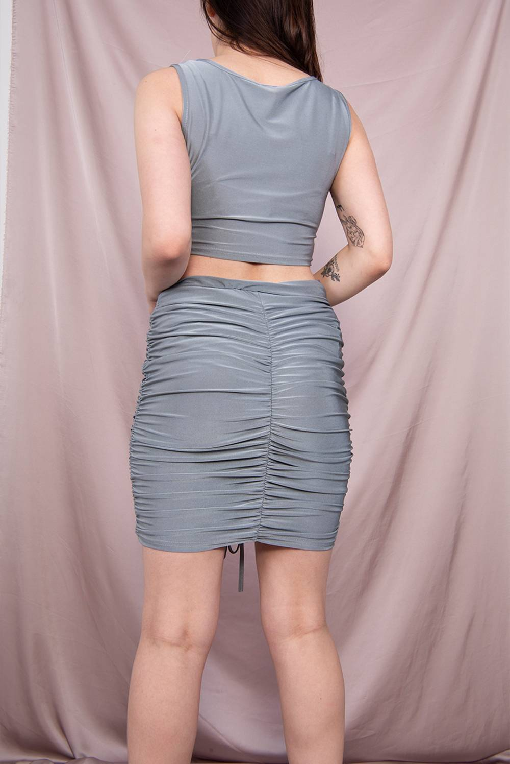 Grey Drawstring Ruched Crop Top And Skirt Co-Ord J5 Fashion