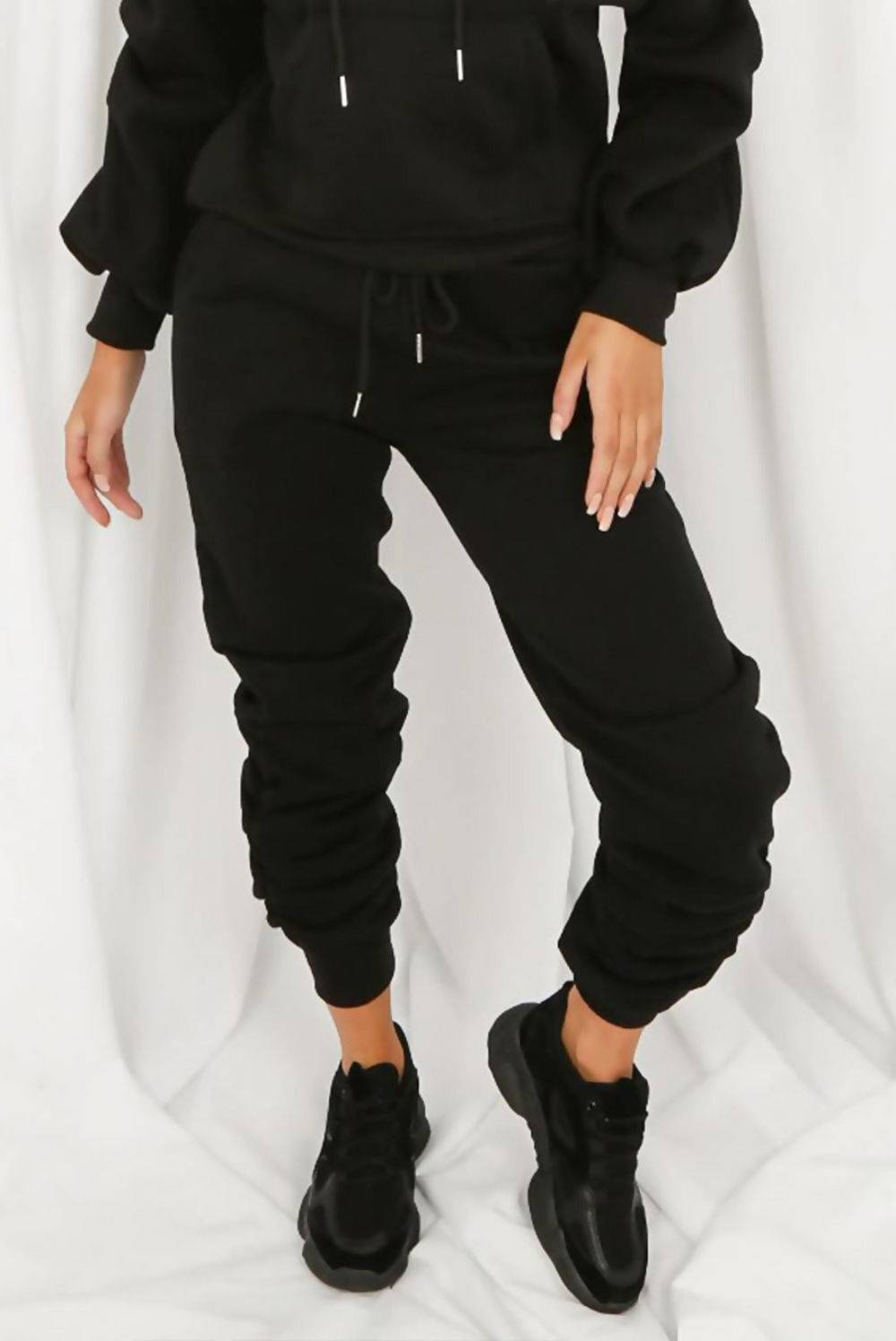 Beige Fleece Lined Ruched Ankle Joggers J5 Fashion