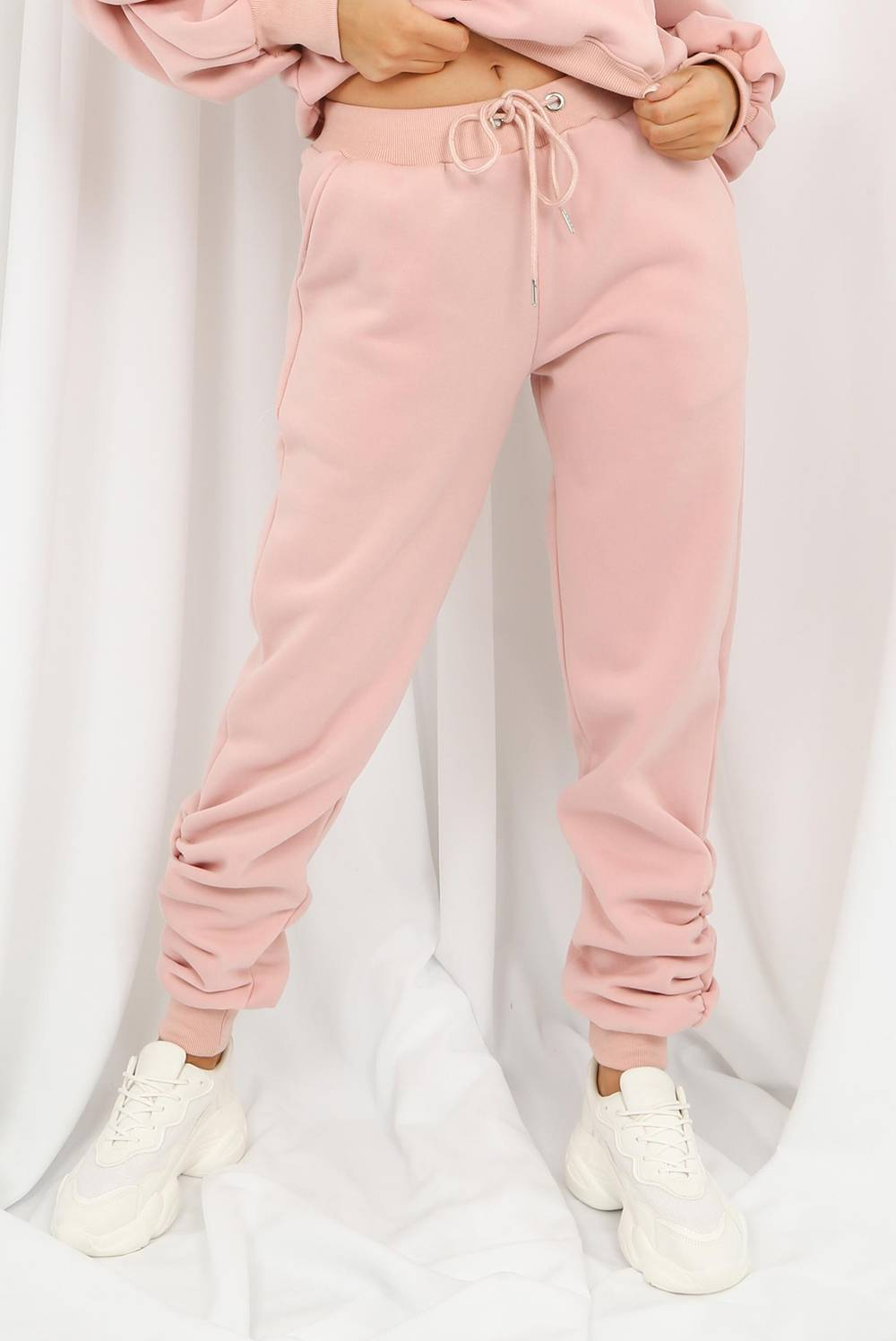 Blush Fleece Lined Ruched Ankle Joggers J5 Fashion
