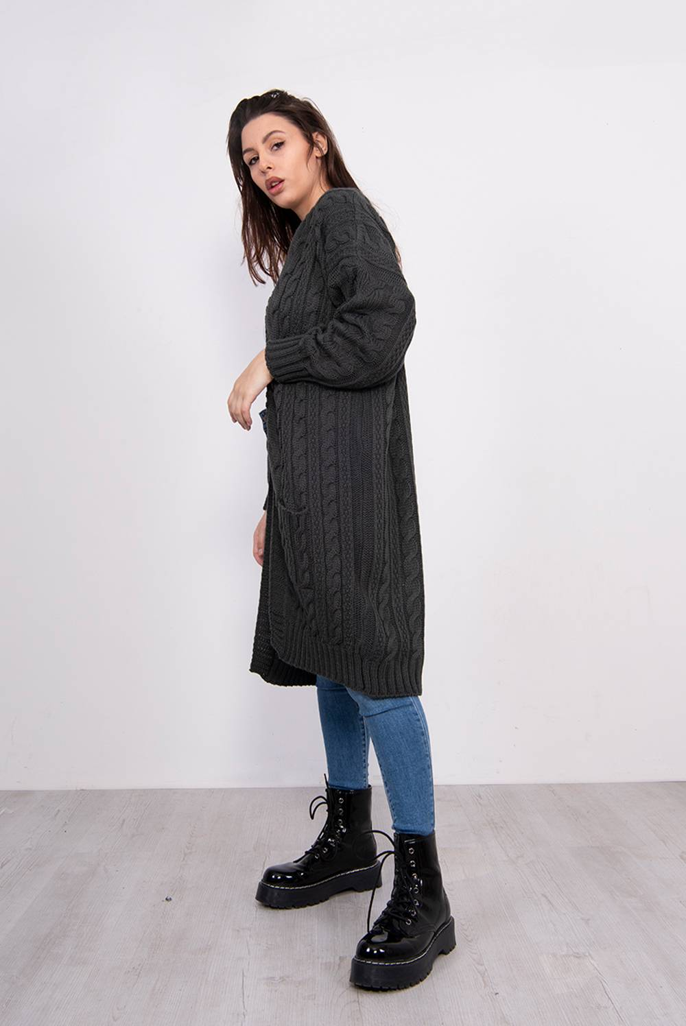 Charcoal Cable Knit Pocket Front Cardigan J5 Fashion
