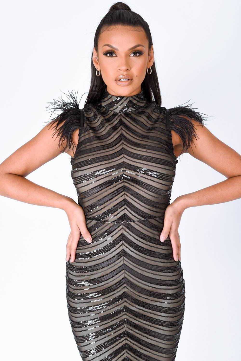 Power Vip Black Luxe Feather Shoulder Sequin Illusion Maxi Dress Nazz Collection