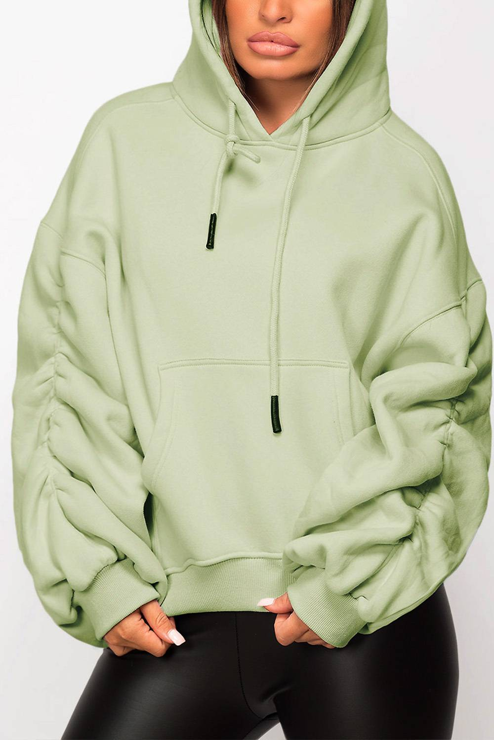 Green Oversized Ruched Sleeve Hoodie J5 Fashion