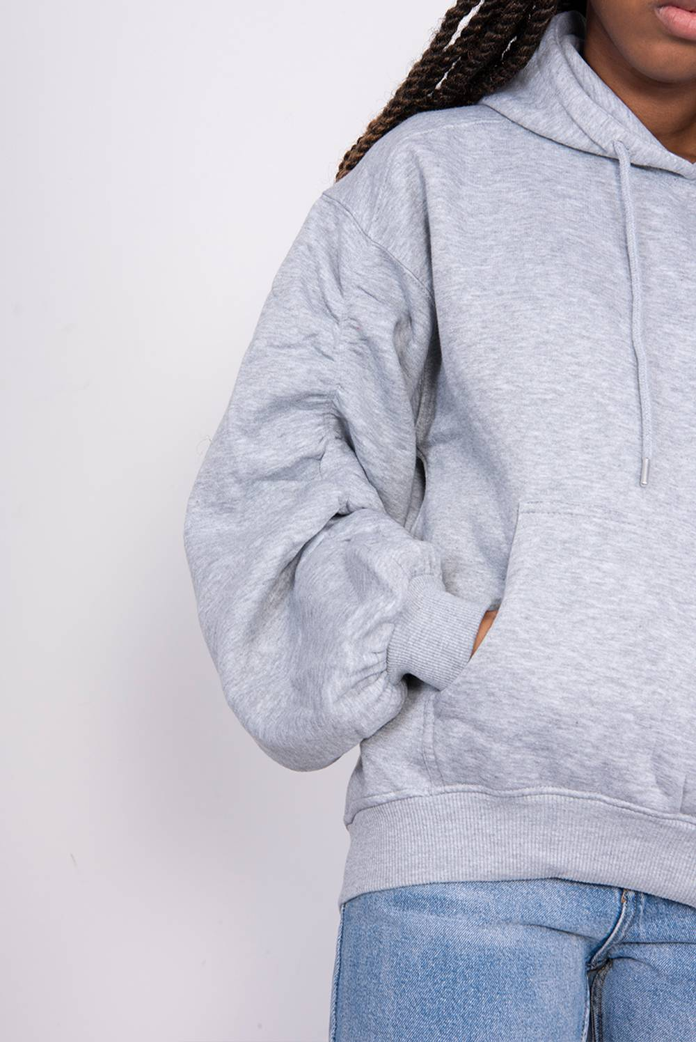 Grey Oversized Ruched Sleeve Hoodie J5 Fashion