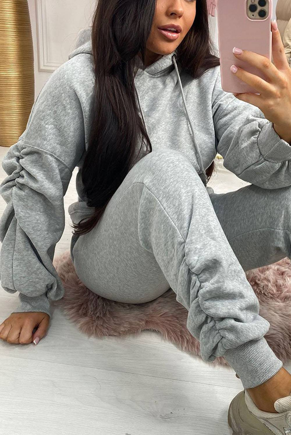 Grey Ruched Hoodie And Jogger Set J5 Fashion