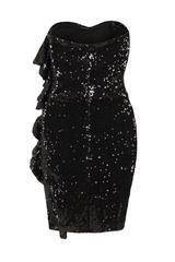 Ruffle Me Up Black Strapless Sequin Bodycon Dress Nazz Collection