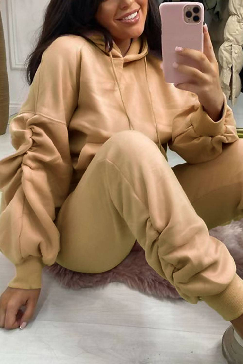 Blush Ruched Hoodie And Jogger Set J5 Fashion
