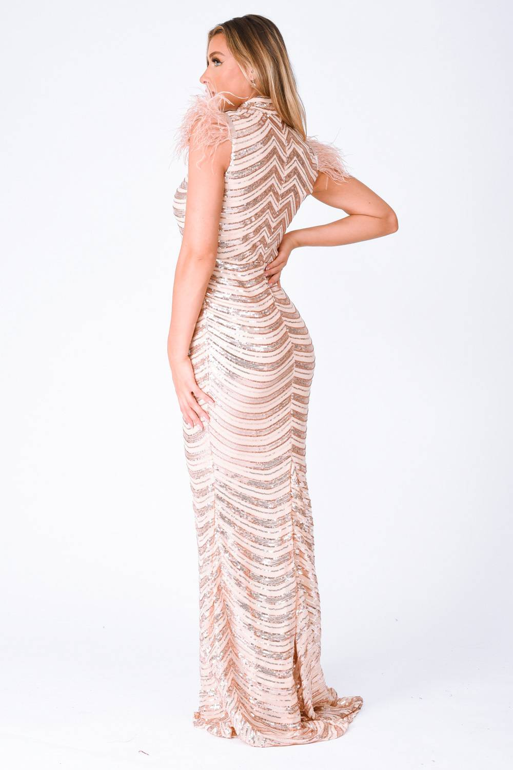 Power Vip Rose Gold Luxe Feather Shoulder Sequin Illusion Maxi Dress Nazz Collection