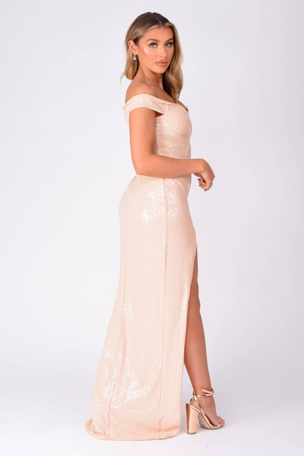 Marilyn Cream Nude Sequin Off The Shoulder Maxi Slit Dress Nazz Collection