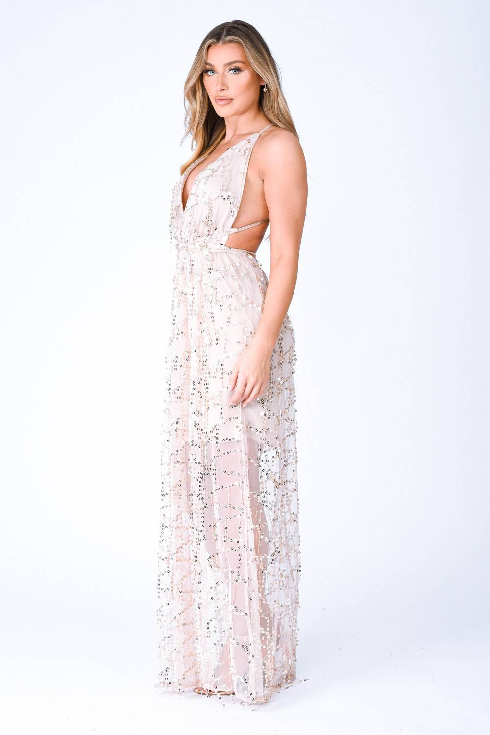 Tiffany Nude Plunge Gold Sequin Tassel Fringe Sheer Maxi Dress Nazz Collection