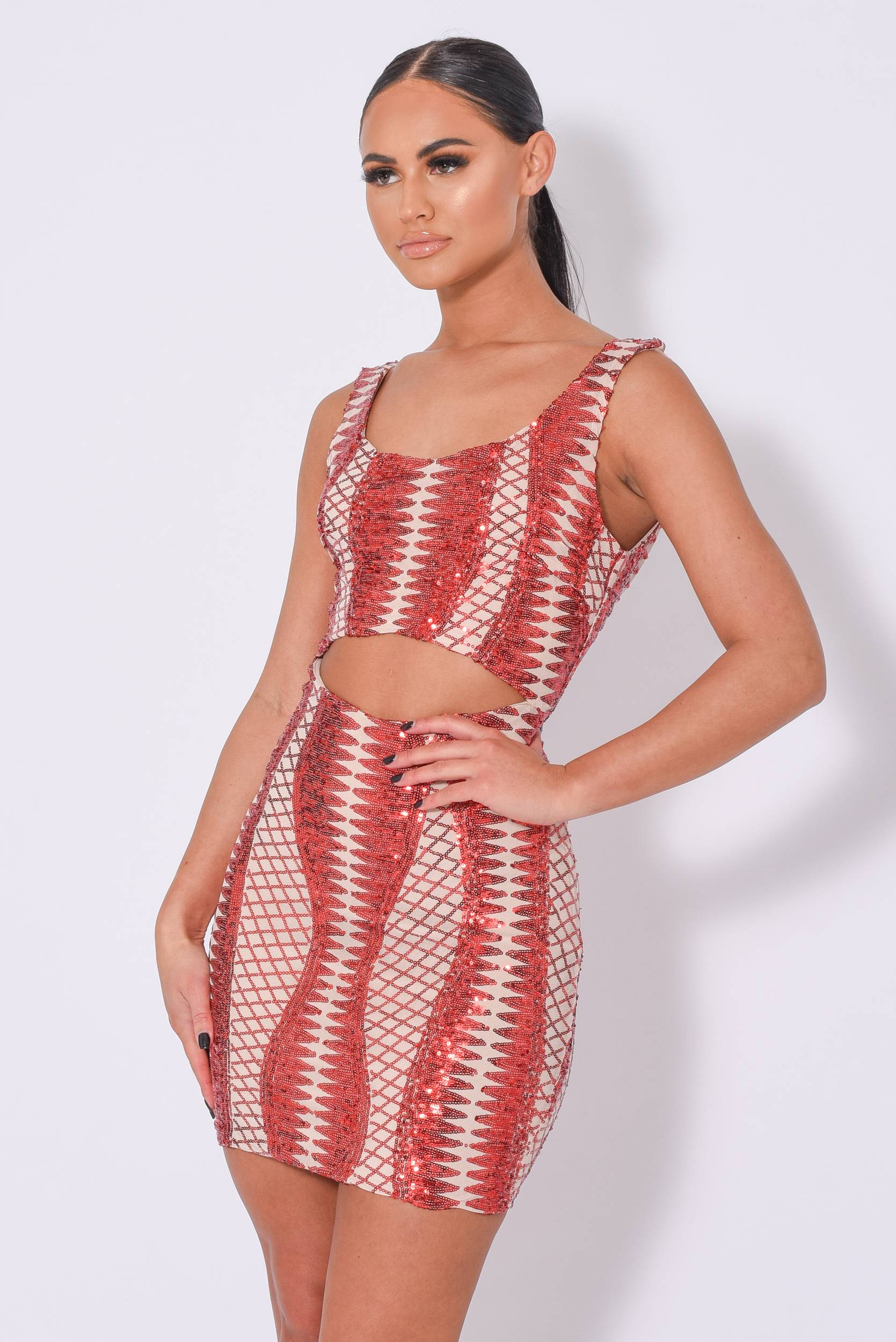 Till Midnight Red Cut Out Sequin Bandage Cage Bodycon Dress Nazz Collection