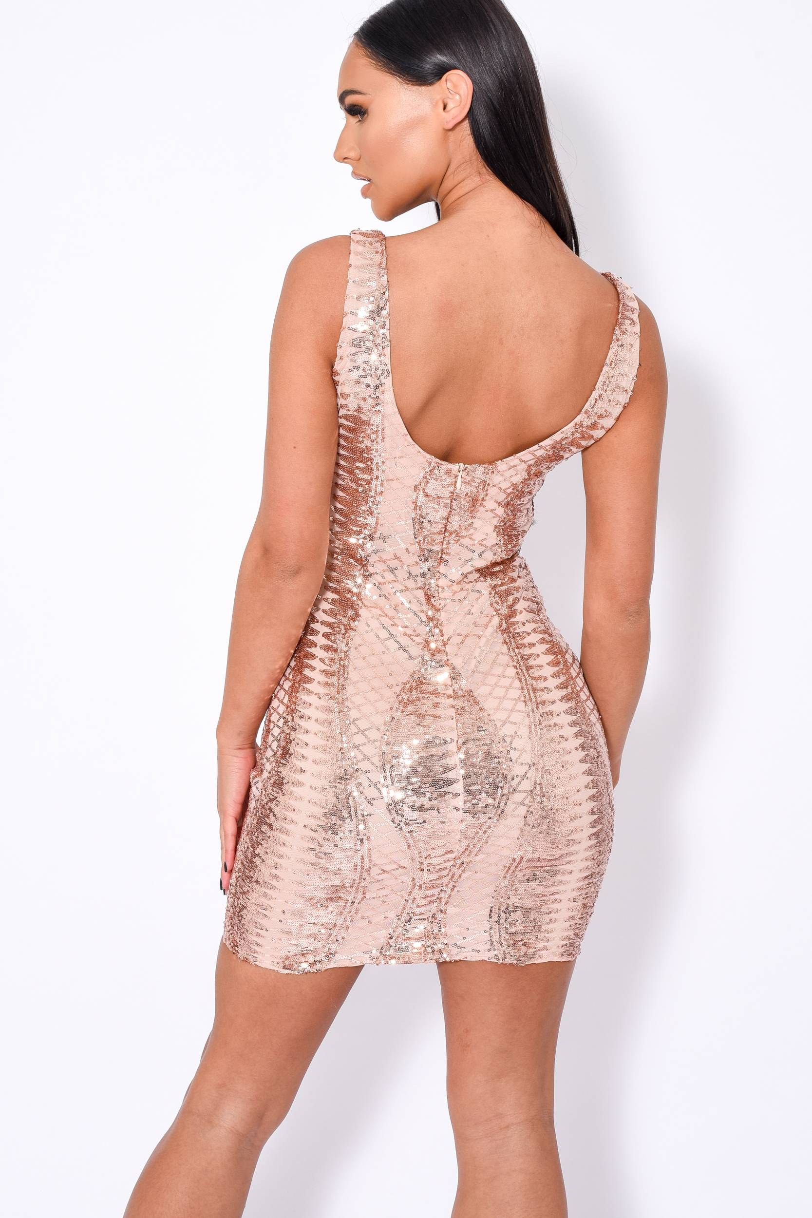 Till Midnight Rose Gold Cut Out Sequin Bandage Cage Bodycon Dress Nazz Collection