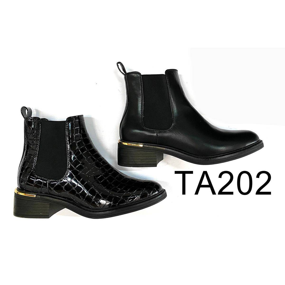Ankle boot with Gold Trim Heel Moyee