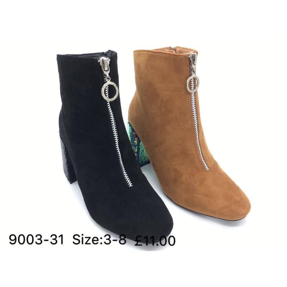 Faux Suede Boots With Sequin Heel Happy Feet