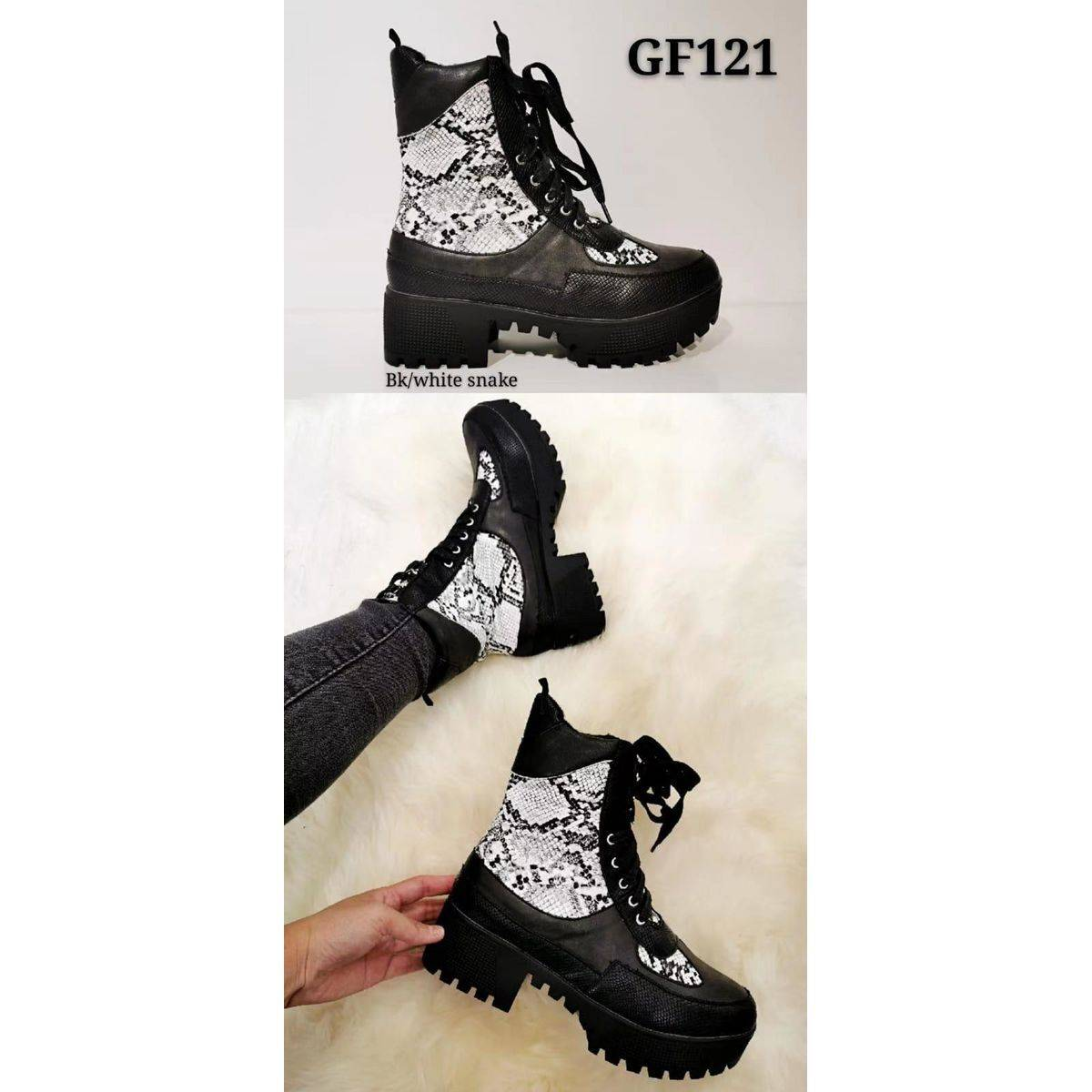 Woman Biker Ankle Boots With Snake Print Leading Fashions Ltd
