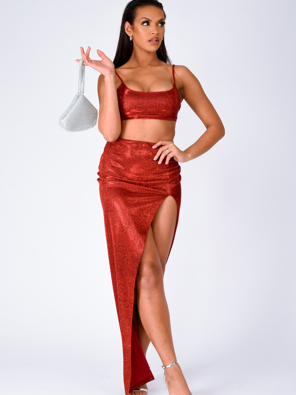 Cuba Sparkle Metallic Glitter Crop Top Thigh Slit Skirt Two Piece Co ord Set Nazz Collection