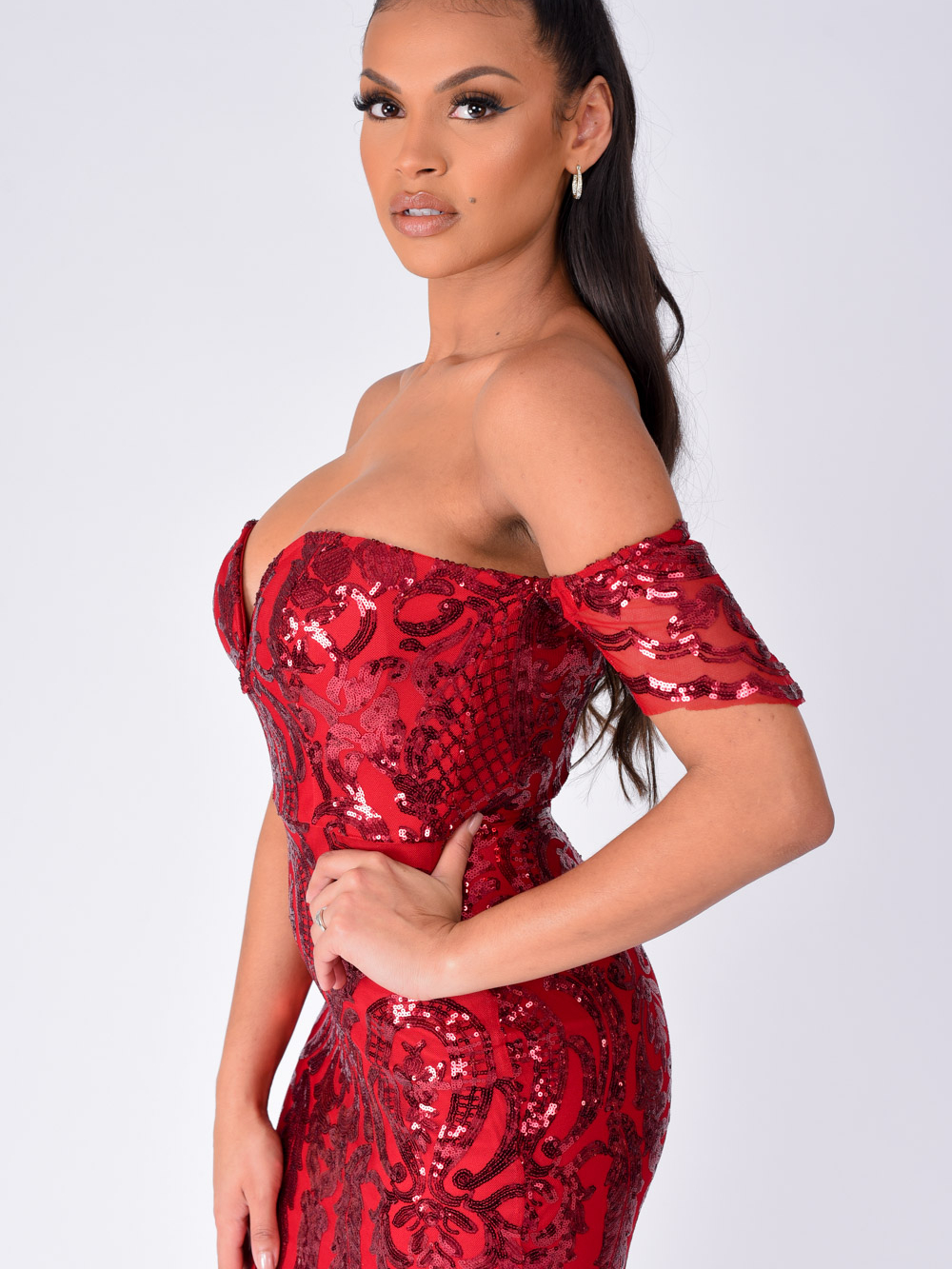 Lovestruck Berry Luxe Sweetheart Off Shoulder Sequin Fishtail Dress Nazz Collection