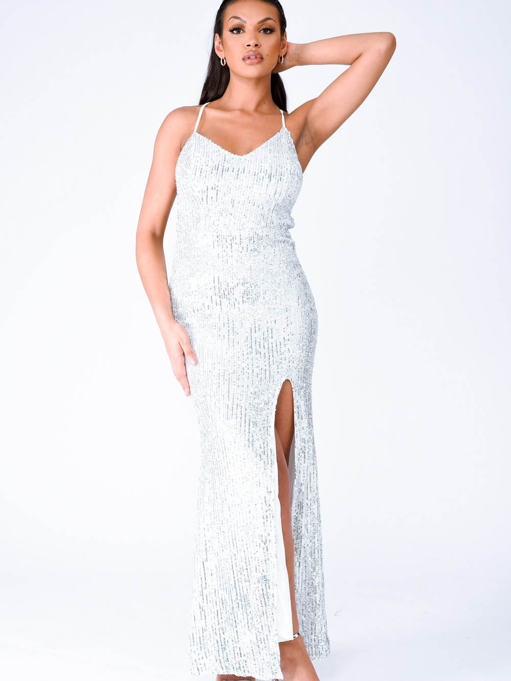 Big Dreams Silver Tie Back Sequin Plunge Slit Maxi Dress Nazz Collection