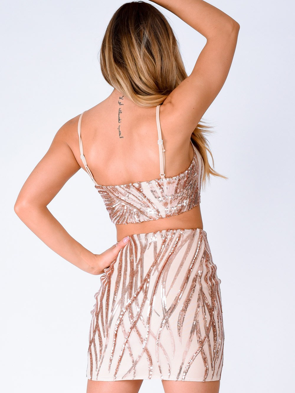 Moonlight Rose Gold Tree Effect Sparkle Sequin Two Piece Co-ord Set Nazz Collection