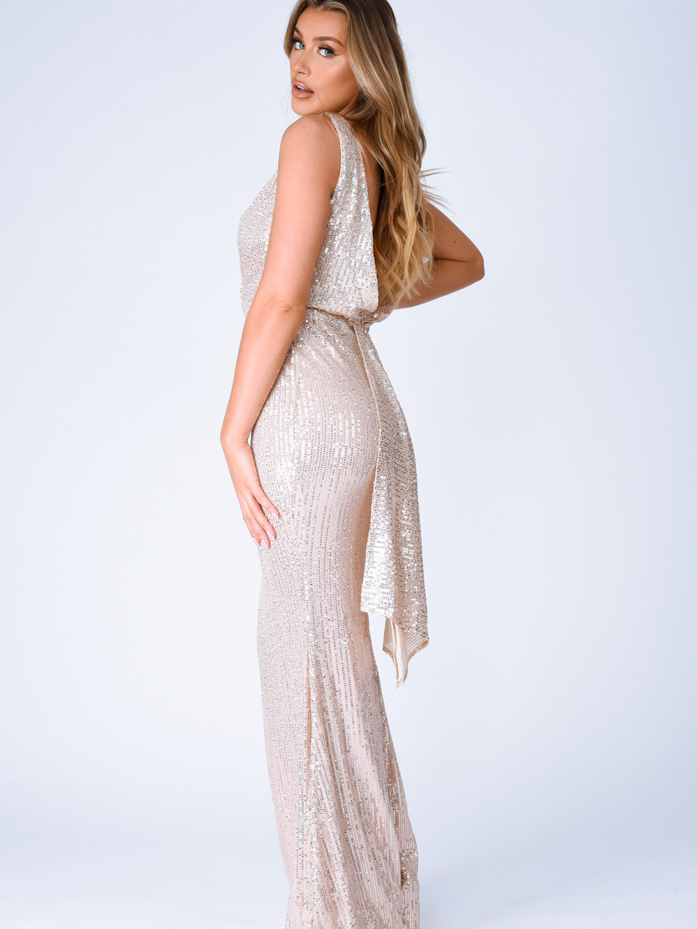 The One Rose Gold Sequin Plunge Backless Maxi Dress Nazz Collection