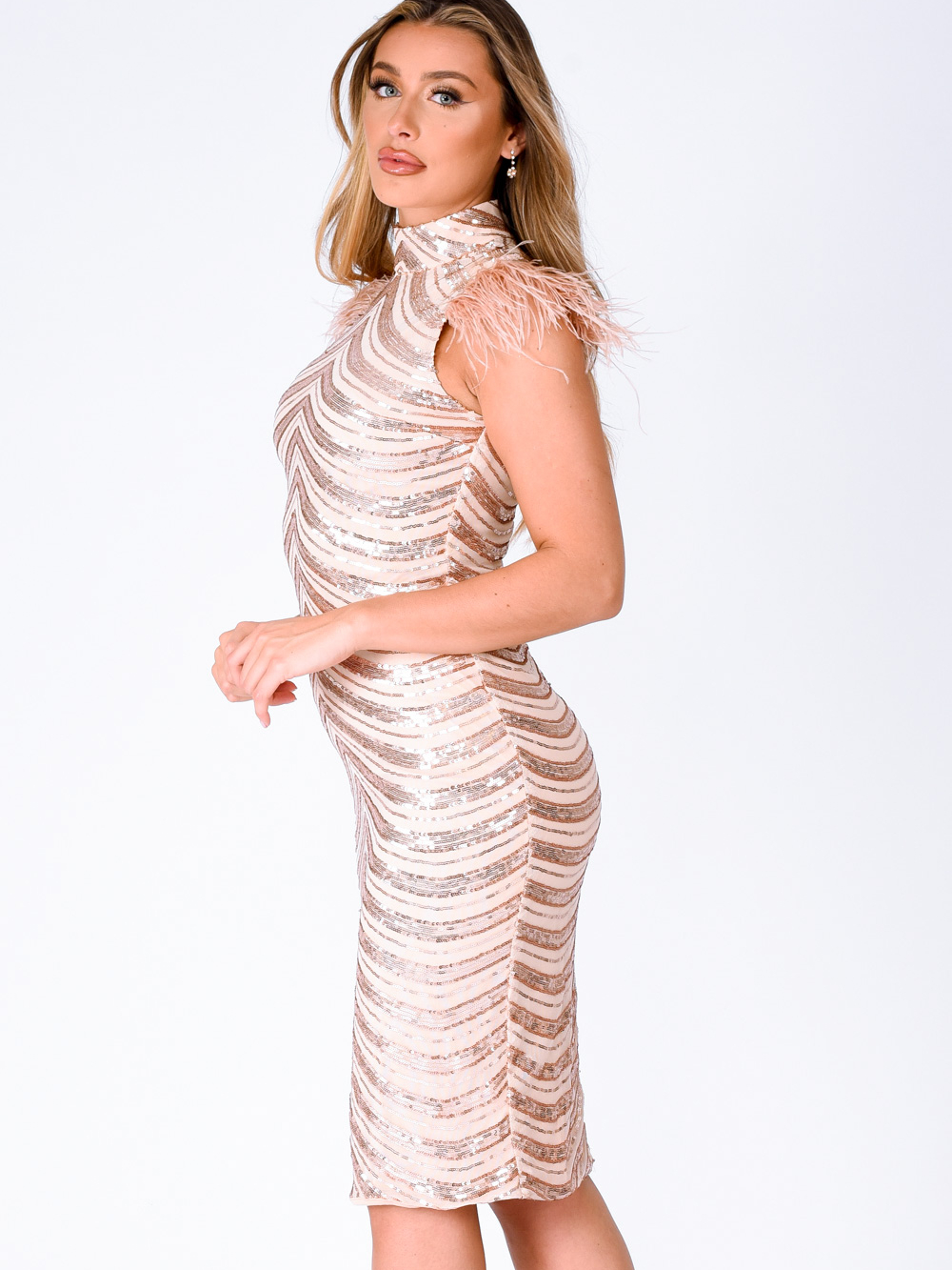 Destiny Vip Rose Gold Luxe Feather Sequin Illusion Midi Pencil Dress Nazz Collection