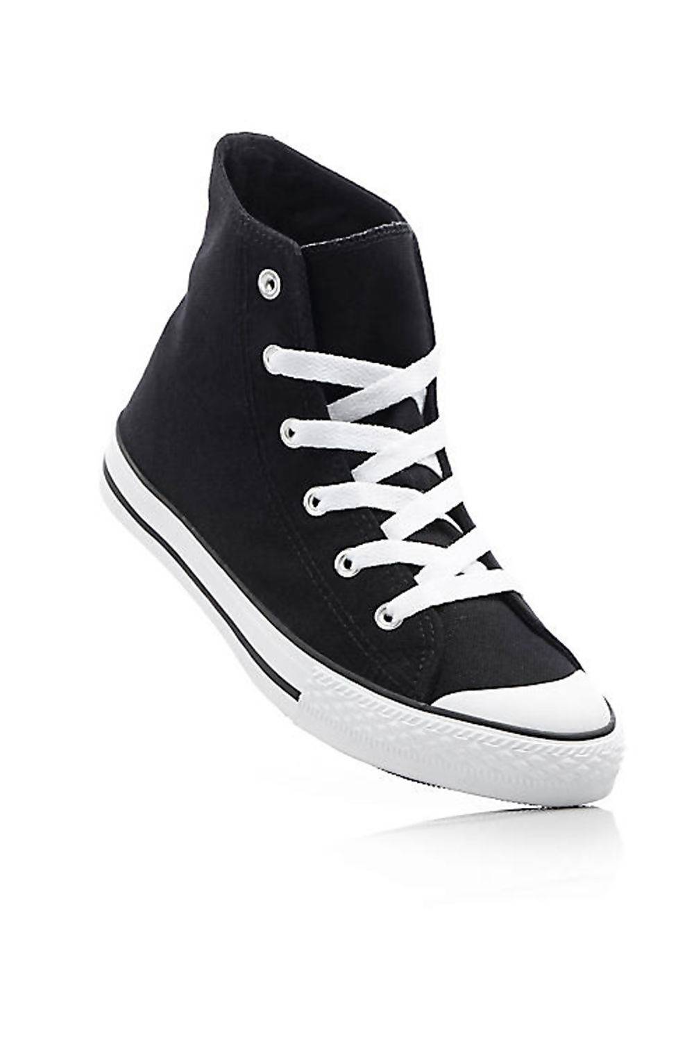 Canvas High Top Navy Lace Up Trainers  J5 Fashion