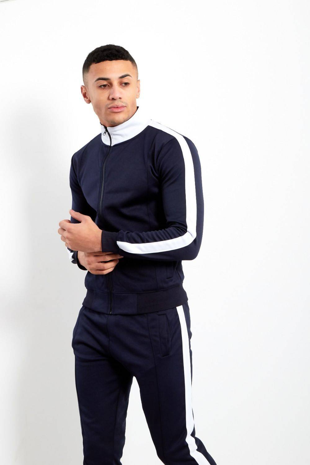 Navy White Tape Funnel Skinny Fit Tracksuit J5 Fashion