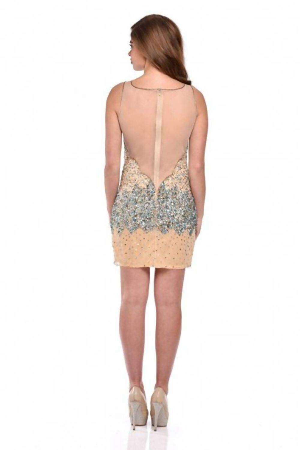 Beige Handcrafted Sequin Fitted Mesh Dress J5 Fashion