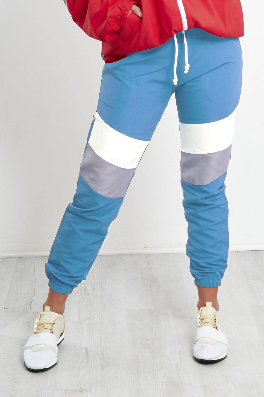Navy With White and Grey Panel Trouser J5 Fashion