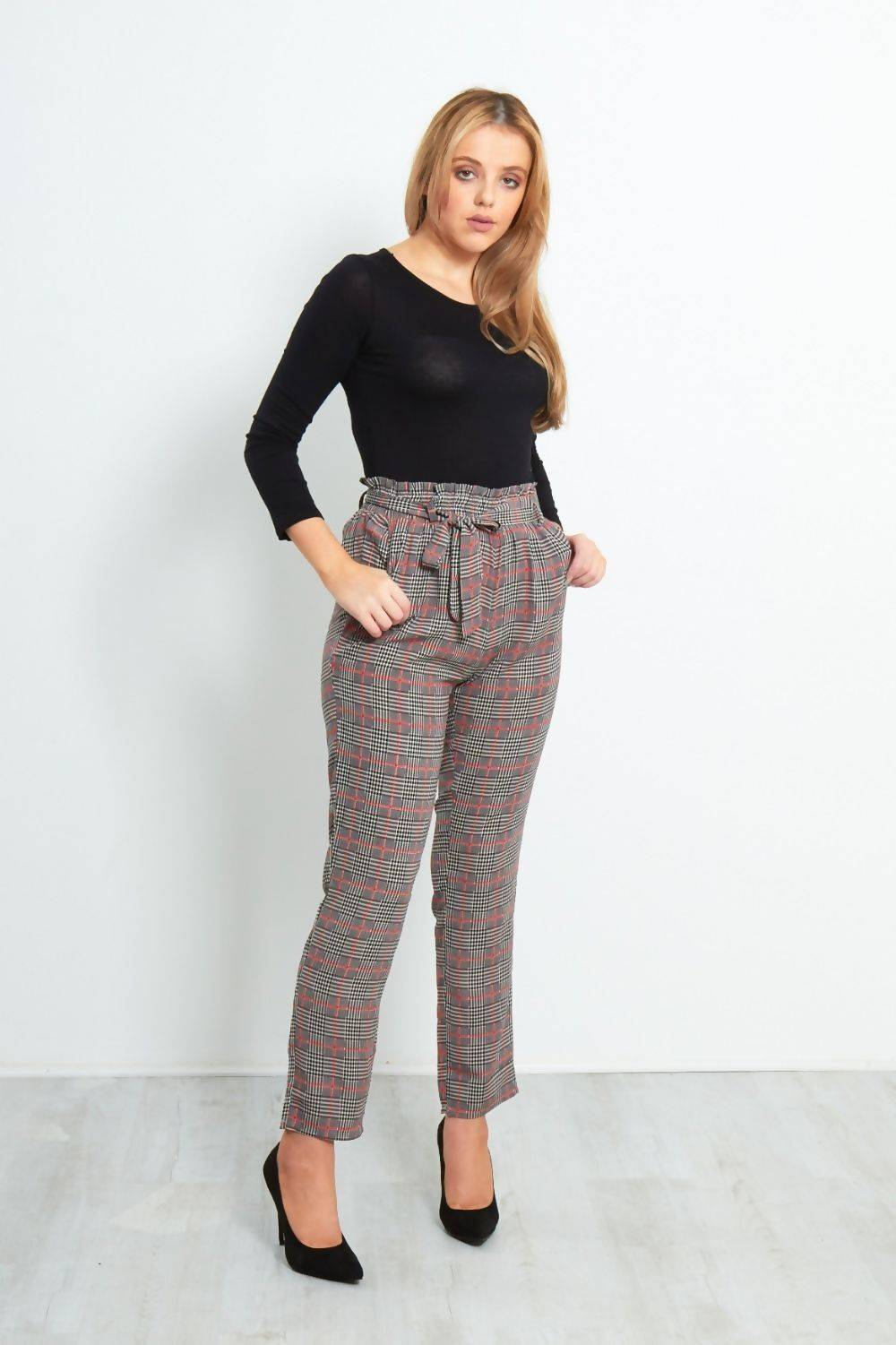 Navy With Yellow Checked Frill Tie Trouser J5 Fashion