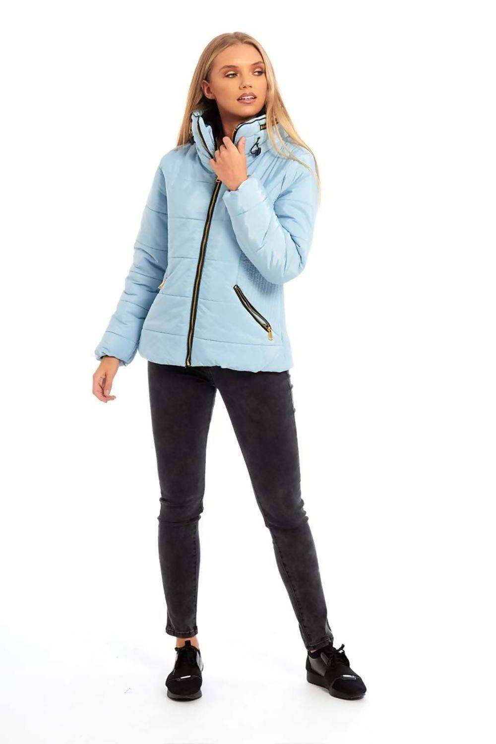 Pink High Neck Padded Puffer Quilted Jacket J5 Fashion