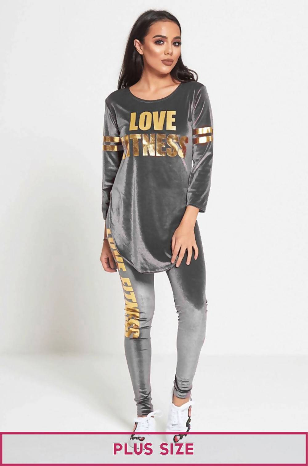 Plus Size Grey Love Fitness Suede Tracksuit J5 Fashion