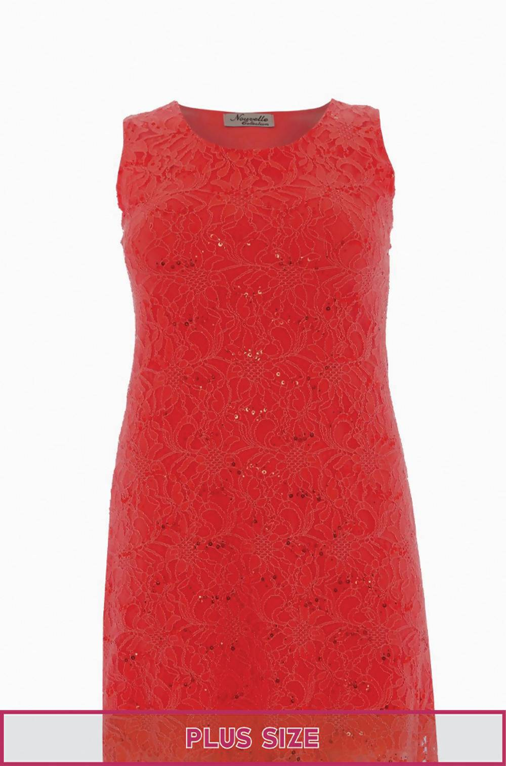 Plus Size Red Sleeveless Lace Sequin Evening Swing Dress J5 Fashion