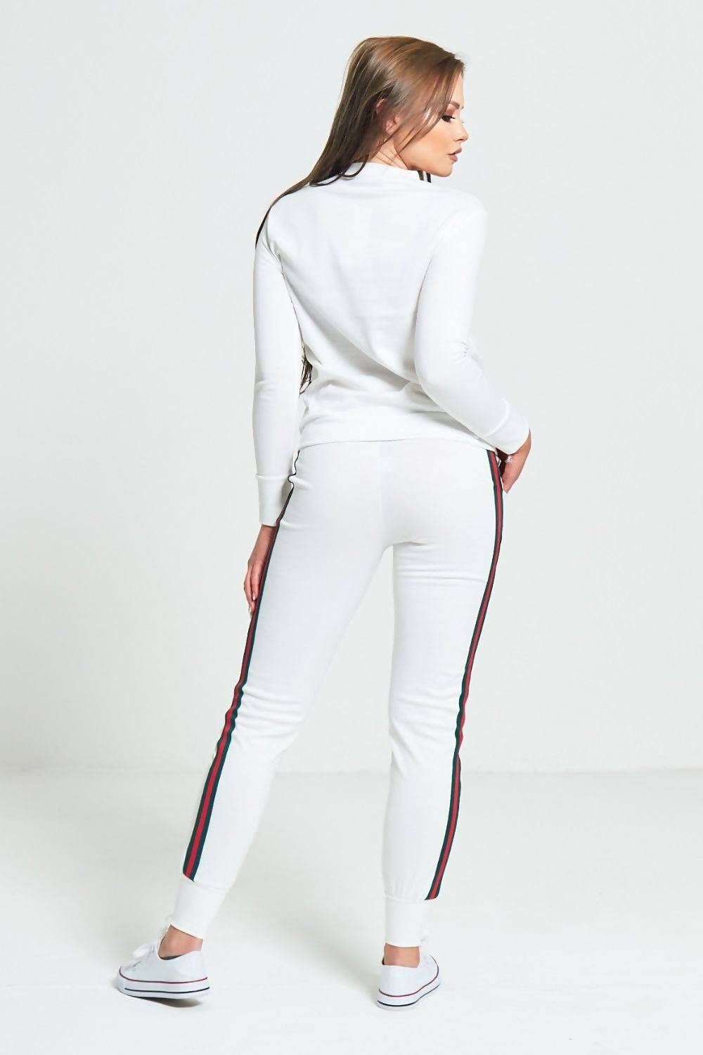 White And Red Stripe Tracksuit J5 Fashion