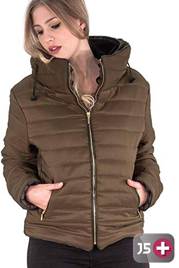 Plus Size Brown Quilted Padded Bubble Puffer Fur Collar Jacket J5 Fashion