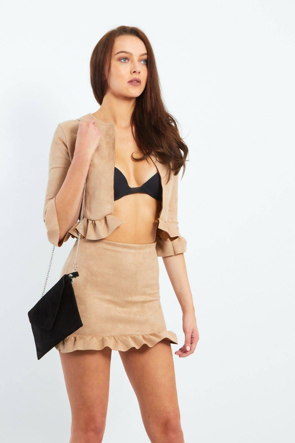 Camel Faux Suede Frill Hem Jacket And Mini Skirt Co-ord J5 Fashion