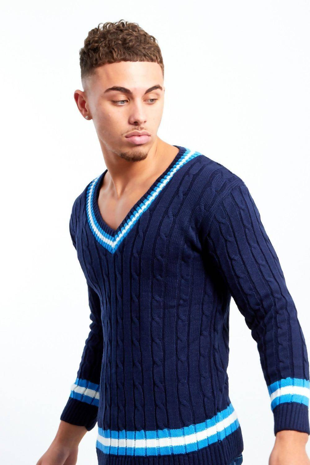 Navy Cable Knitted V Neck Cricket Jumper J5 Fashion