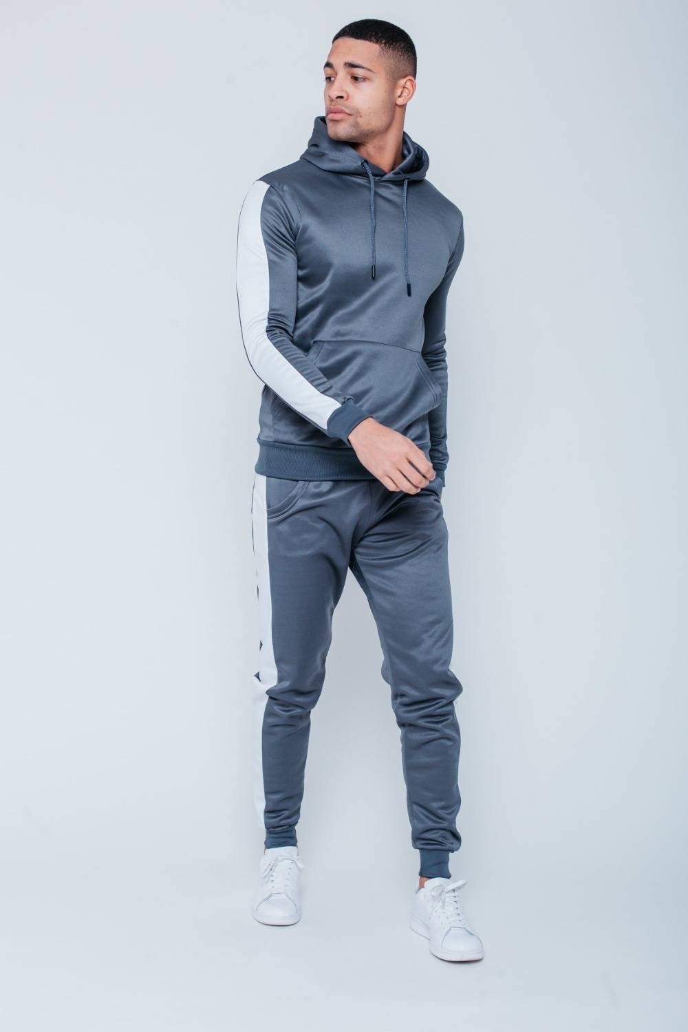 Black White Tape Pouch Pullover Tracksuit  J5 Fashion
