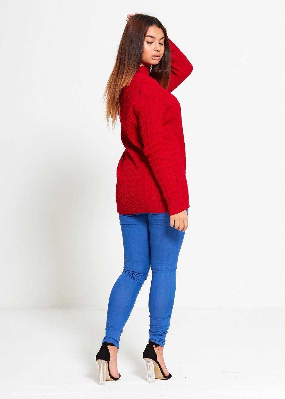 Red Choker Neck Knitted Jumper J5 Fashion