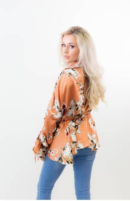 Rust Wrap Over Floral Top J5 Fashion