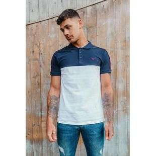 White With Navy Collared Polo Shirt J5 Fashion