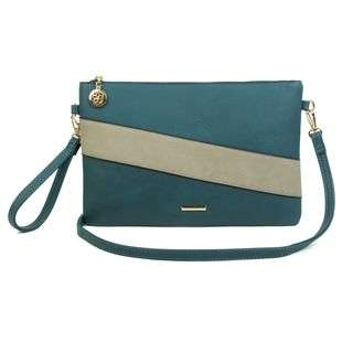 Two Tone Envelope Clutch Bag Cross Body Bag with a Wristband and Long Strap Superbia Fashion