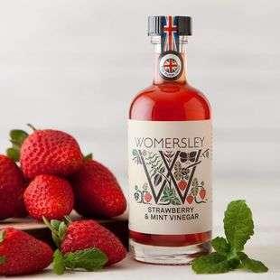 Strawberry & Mint Vinegar, Case of 6 Womersley Fruit and Herb Vinegars Ltd