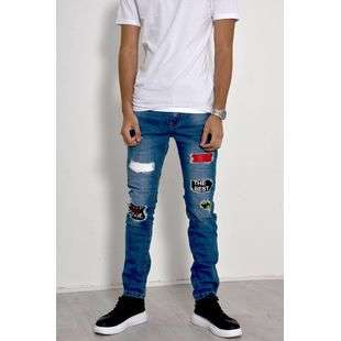 Blue Patched Distressed Frayed Jeans J5 Fashion