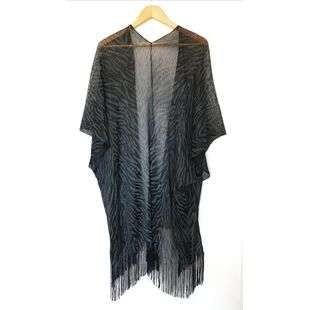 One Size Sparkle Sleeved with Tassle Animal Print Open Kaftan Wrap for evening Party Christmas Superbia Fashion
